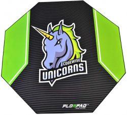 Florpad Codewise Unicorns 120x120x0,4 cm fekete-zöld gamer szőnyeg