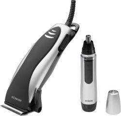Bomann HSM 8007 NE CB 10 W, 4 fésű fekete-szürke 2 az 1-ben hajvágó és fül-orr szőr nyíró