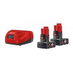 Milwaukee M12 NRG-402 2 x 4.0Ah 12V fekete-piros töltővel/akkumulátor szett