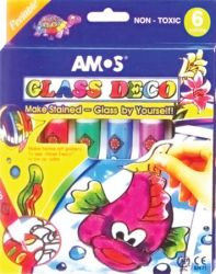 AMOS 6-színű üvegfólia festék készlet