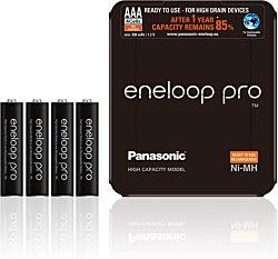 Panasonic Eneloop Pro AAA 930mAh NIMH (4 db) Újratölthető elem (+ elemtároló tok)