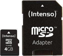Intenso 3413450 microSDHC, 4GB, Class 10 memóriakártya
