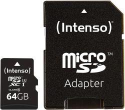 Intenso 3433490 microSDXC, 64GB, Class 10, UHS-I Professional memóriakártya