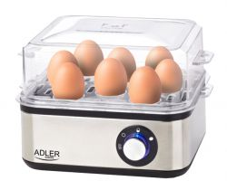 Adler AD4486 500-800W (8 tojáshoz) inox elektromos tojásfőző