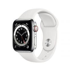 "Apple Watch Series 6 Oled 1.57"" 40mm GPS 4G rozsdamentes házú fehér sportszíjas okosóra"