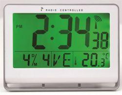 """ALBA Horlcdneo"""" 22x20 cm rádióvezérlésű LCD kijelzős ezüst falióra"""""""