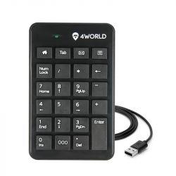 4World Super Slim USB US fekete numerikus billentyűzet