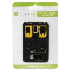 Techly SIM kártya, nano-SIM, Micro-SIM SIM kártya adapter szett