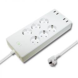 Qoltec 51789 Smart Wi-Fi 6 aljzat + 4 x USB fehér túlfeszültségvédő elosztó