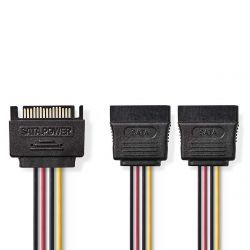 Nedis CCGP73190VA015 SATA 15-Pin apa - 2x SATA 15-Pin anya 0.2 m többszínű kábel
