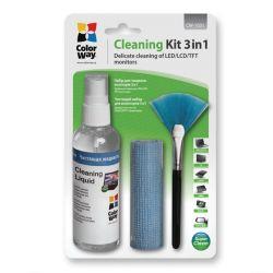 ColorWay CW-1031 3in1 kijelző tisztító készlet (kendő, spray, kefe)