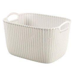 Curver Knit L méretű fehér kötött hatású kosár