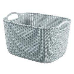 Curver Knit L méretű kék kötött hatású kosár