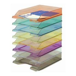 DONAU műanyag áttetsző vegyes színű irattálca