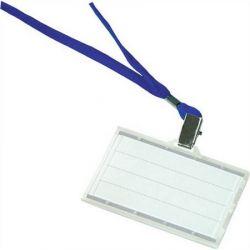 DONAU 85x50 mm műanyag azonosítókártya tartó kék nyakba akasztóval