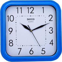 """SECCO Sweep second"""" 25,5x25,5 cm négyzet alakú kék keretes falióra """""""
