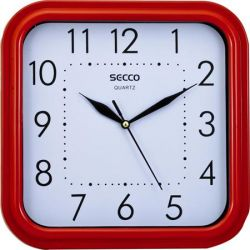 "SECCO Sweep second"" 25,5x25,5 cm négyzet alakú piros keretes falióra"""