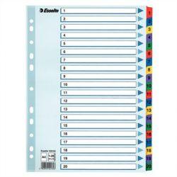 """ESSELTE """"Mylar"""" A4 1-20 laminált karton regiszter"""
