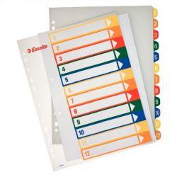 ESSELTE A4 Maxi nyomtatható műanyag 1-12 áttetsző regiszter