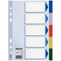 ESSELTE A5 5 részes műanyag színes regiszter