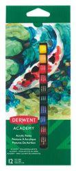 Derwent Academy 12 ml 12 különböző színű akrilfesték