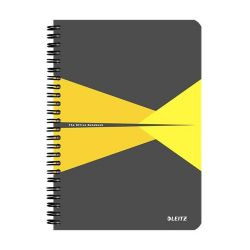 """Leitz """"Office"""" 90 lap A5 szürke-sárga laminált karton borító kockás spirálfüzet"""