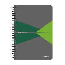 """Leitz """"Office"""" 90 lap A5 szürke-zöld laminált karton borító vonalas spirálfüzet"""