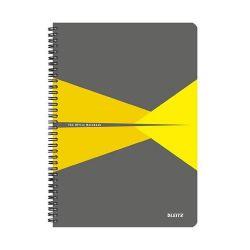 """Leitz """"Office"""" 90 lap A4 szürke-sárga PP borító kockás spirálfüzet"""