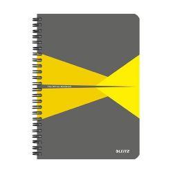 """Leitz """"Office"""" 90 lap A5 szürke-sárga PP borító  kockás spirálfüzet"""