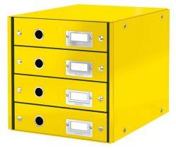 """LEITZ """"Click&Store"""" sárga 4 fiókos laminált karton irattároló"""
