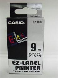 CASIO 9 mm x 8 m ezüst-fekete feliratozógép szalag