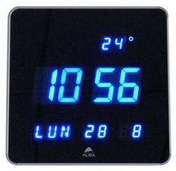 "ALBA ""Horledsq"" 28 cm LED kijelzős fekete falióra"