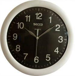 "SECCO ""Sweep Second"" 30 cm ezüst/fekete falióra"
