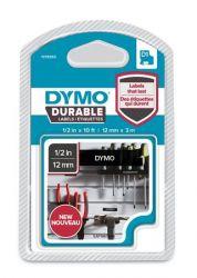 """DYMO """"D1"""" 12 mm x 3 m tartós fekete-fehér feliratozógép szalag"""