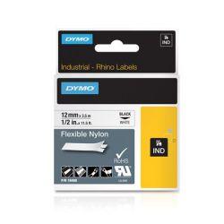 """DYMO """"Rhino"""" 12 mm x 3,5 m flexibilis fehér-fekete feliratozógép szalag"""