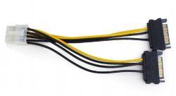 Gembird CC-PSU-83 8-pin PCI-E - 2x SATA, 15 cm táp adapter kábel