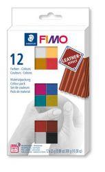 """FIMO """"Leather Effect"""" égethető 12 különböző színű gyurma készlet (12x25 g)"""