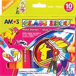 AMOS 10-színű üvegfólia festék készlet
