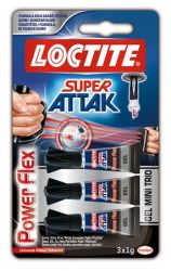 HENKEL Loctite Super Attak Mini Trio PowerFlex Gel 3x1 g pillanatragasztó gél