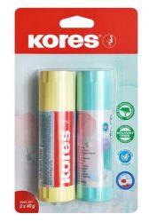 KORES 2x 40 g-os pasztell színű tokban ragasztóstift vegyes színekkel