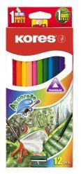 KORES 12 különböző színű akvarell ceruza készlet hegyezővel, ecsettel