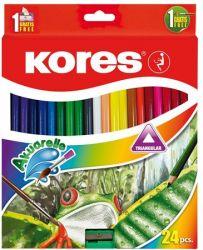 KORES 24 különböző színű akvarell ceruza készlet hegyezővel, ecsettel