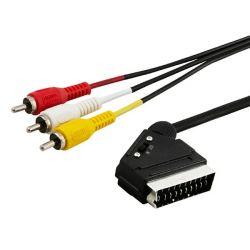 Elmak Savio CL-133 2m, Scart - 3xRCA fekete kábel