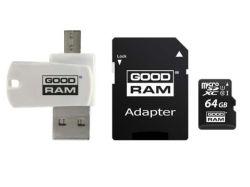 Goodram M1A4-0640R12 microSDHC 64GB CL10 memóriakártya + adapter + kártyaolvasó