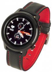 """Garett Men 5S IPS LCD 1.3"""" fekete-piros bőr okosóra"""
