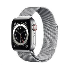 """Apple Watch Series 6 Oled 1.57"""" 40mm GPS 4G ezüst milánói sportszíjas okosóra"""