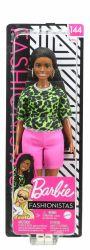 Mattel Barbie (FBR37/GYB00) Fashionistas baba neon leopárd mintás pólóban, rózsaszín rövidnadrágban