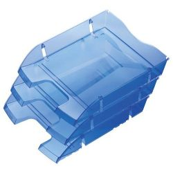 """HELIT """"Nestable Green Logic"""" törhetetlen műanyag áttetsző kék irattálca"""