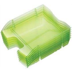 """HELIT """"Nestable Green Logic"""" törhetetlen műanyag áttetsző zöld irattálca"""