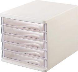 HELIT fehér/áttetsző 5 fiókos műanyag irattároló